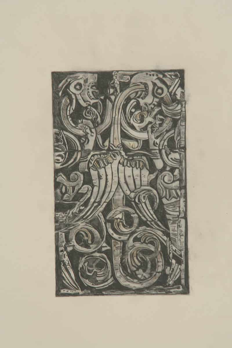 Borgund stav door carving, drawing by Mary Griep
